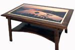 Walnut Coffee Table with Ceramic Tiles